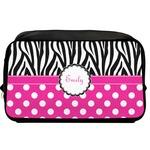 Zebra Print & Polka Dots Toiletry Bag / Dopp Kit (Personalized)