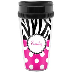 Zebra Print & Polka Dots Travel Mug (Personalized)