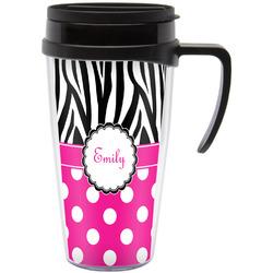Zebra Print & Polka Dots Travel Mug with Handle (Personalized)