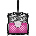 Zebra Print & Polka Dots Trivet with Handle (Personalized)