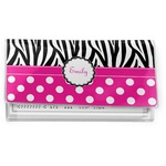 Zebra Print & Polka Dots Vinyl Checkbook Cover (Personalized)