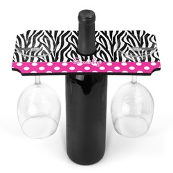 Zebra Print & Polka Dots Wine Bottle & Glass Holder (Personalized)