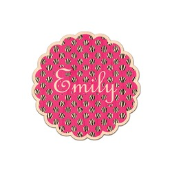 Zebra Print & Polka Dots Genuine Maple or Cherry Wood Sticker (Personalized)