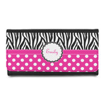 Zebra Print & Polka Dots Leatherette Ladies Wallet (Personalized)