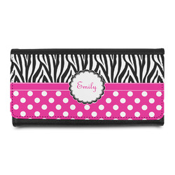 Zebra Print & Polka Dots Leatherette Ladies Wallet (Personalized)
