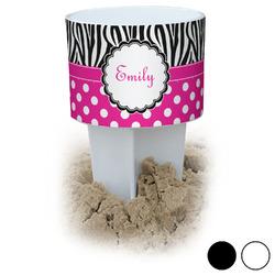 Zebra Print & Polka Dots Beach Spiker Drink Holder (Personalized)