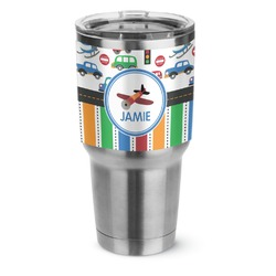Transportation & Stripes Stainless Steel Tumbler - 30 oz (Personalized)