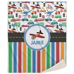 Transportation & Stripes Sherpa Throw Blanket (Personalized)