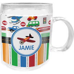 Transportation & Stripes Acrylic Kids Mug (Personalized)