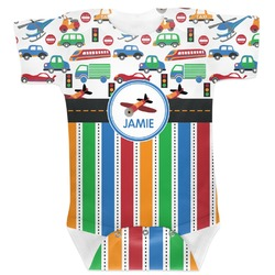 Transportation & Stripes Baby Bodysuit (Personalized)