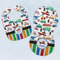 Transportation & Stripes Baby Bib & Burp Set w/ Name or Text