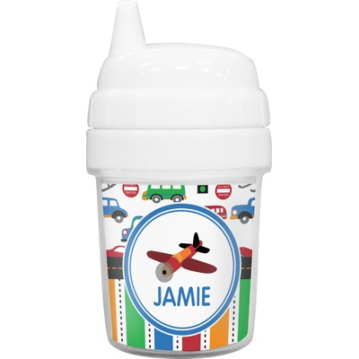 Transportation & Stripes Baby Sippy Cup (Personalized)