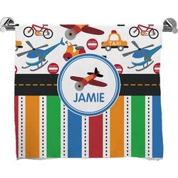 Transportation & Stripes Full Print Bath Towel (Personalized)