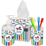 Transportation & Stripes Bathroom Accessories Set (Personalized)