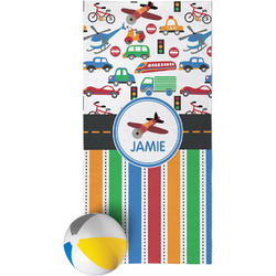 Transportation & Stripes Beach Towel (Personalized)