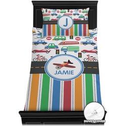 Transportation & Stripes Duvet Cover Set - Twin (Personalized)