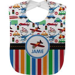 Transportation & Stripes Baby Bib (Personalized)