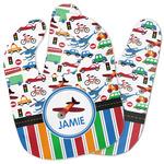Transportation & Stripes Baby Bib w/ Name or Text