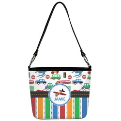 Transportation & Stripes Bucket Bag w/ Genuine Leather Trim (Personalized)