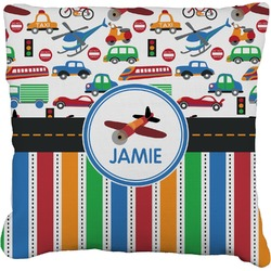 "Transportation & Stripes Faux-Linen Throw Pillow 26"" (Personalized)"
