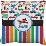 Transportation & Stripes Burlap Throw Pillow (Personalized)