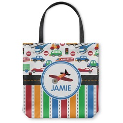 """Transportation & Stripes Canvas Tote Bag - Large - 18""""x18"""" (Personalized)"""