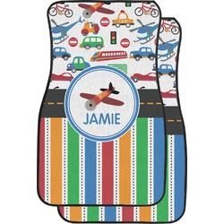 Transportation & Stripes Car Floor Mats (Front Seat) (Personalized)