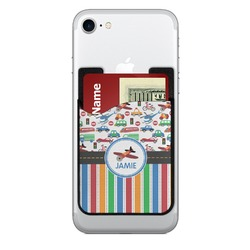 Transportation & Stripes 2-in-1 Cell Phone Credit Card Holder & Screen Cleaner (Personalized)