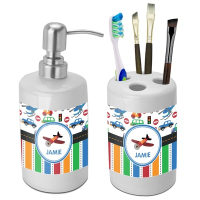 Transportation & Stripes Bathroom Accessories Set (Ceramic) (Personalized)