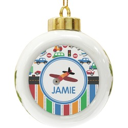 Transportation & Stripes Ceramic Ball Ornament (Personalized)