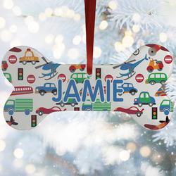 Transportation & Stripes Ceramic Dog Ornaments w/ Name or Text