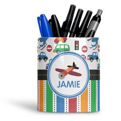 Transportation & Stripes Ceramic Pen Holder