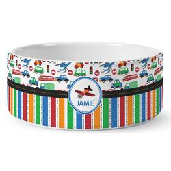 Transportation & Stripes Ceramic Pet Bowl (Personalized)