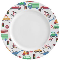 Transportation & Stripes Ceramic Dinner Plates (Set of 4) (Personalized)