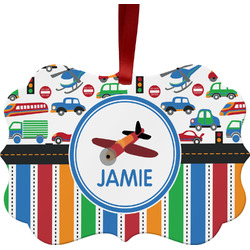 Transportation & Stripes Ornament (Personalized)