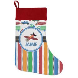 Transportation & Stripes Holiday / Christmas Stocking (Personalized)