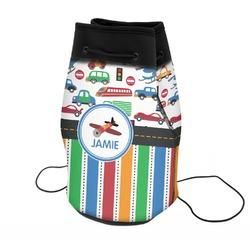 Transportation & Stripes Neoprene Drawstring Backpack (Personalized)