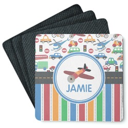 Transportation & Stripes 4 Square Coasters - Rubber Backed (Personalized)