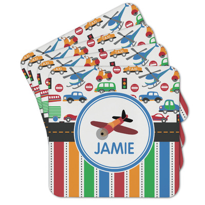 Transportation & Stripes Cork Coaster - Set of 4 w/ Name or Text