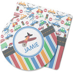 Transportation & Stripes Rubber Backed Coaster (Personalized)
