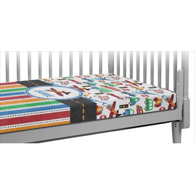 Transportation & Stripes Crib Fitted Sheet (Personalized)