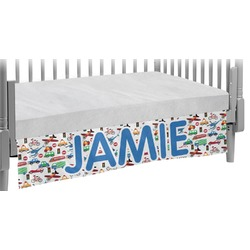 Transportation & Stripes Crib Skirt (Personalized)