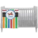 Transportation & Stripes Crib Comforter / Quilt (Personalized)