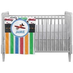 Transportation & Stripes Crib Comforter / Quilt (Personalized)