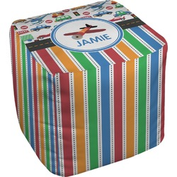 Transportation & Stripes Cube Pouf Ottoman (Personalized)