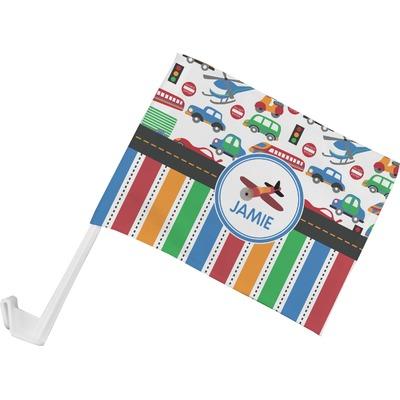 Transportation & Stripes Car Flag (Personalized)