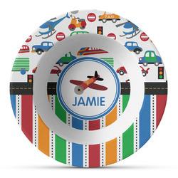 Transportation & Stripes Plastic Bowl - Microwave Safe - Composite Polymer (Personalized)