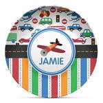 Transportation & Stripes Microwave Safe Plastic Plate - Composite Polymer (Personalized)