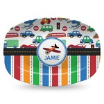 Transportation & Stripes Plastic Platter - Microwave & Oven Safe Composite Polymer (Personalized)
