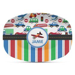 Transportation & Stripes Plastic Platter - Microwave & Oven Safe Composite Polymer (Personalized)